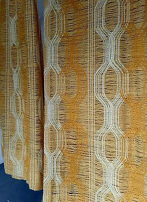 Open Weave Curtains Drapes 2 Lge Panels Vtg MCM Pinch Pleat Gold Yellow 46 X 78