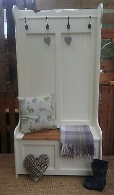 Hand Crafted Solid Pine Monks Bench Tall Storage Seat With Coat Hooks
