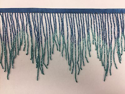 "6"" Royal Blue/Teal Ombre BUGLE Beaded Fringe Chevron Lamp Costume Trim"