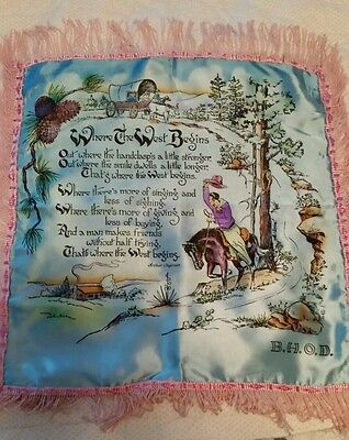 """SILK PILLOW CASE COVER WITH COWBOY VERSE """"Where the West Begins"""" Vintage 16 """"x16"""