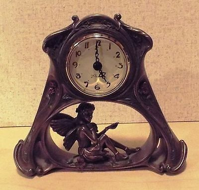 Art Nouveau Style Mantel Clock New Battery Installed 6.5 x 5.75 inches