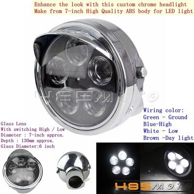 "7"" Motorcycle Chrome Projector Daymaker Hid Led Light Bulb Headlight For Harley"