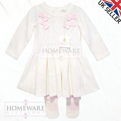Girls Baby Spanish Knitted Dress & Matching Tights Set Ivory Pink Bows 3M-9M New