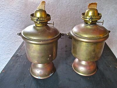 Vintage Pair of Antique Nautical Brass Ship Oil Lamps. Gimbal Armed.