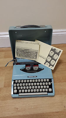 Vintage Imperial 200 Typewriter in Blue with Case, Used