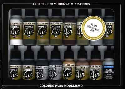 Vallejo Model Air Weathering Acrylic Paint Set for Air Brush - Assorted Colours