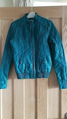 Girls turquoise faux leather jacket