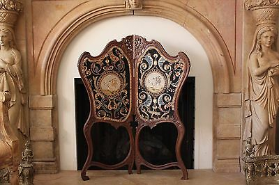 Antique Hand Carved Wood and Hand Needlepoint Fireplace And Mantel Screen