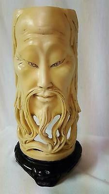 Antique Vintage Chinese Asian Old Wise Man Carving Statue Signed