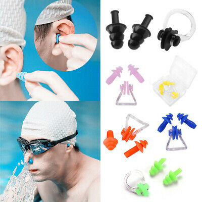 Silicone Swimming Set Nose Clip + Ear Plug with HARD CASE Pool Sea Swim Diving