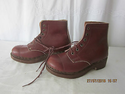 Vintage French Brown Leather Child's Clog Boots Lace Up with Wooden Soles