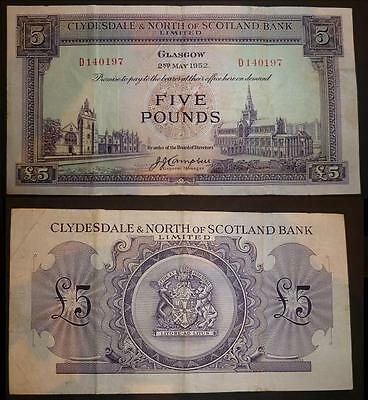Clydesdale & North Of Scotland Five Pound Banknote 2Nd May 1952