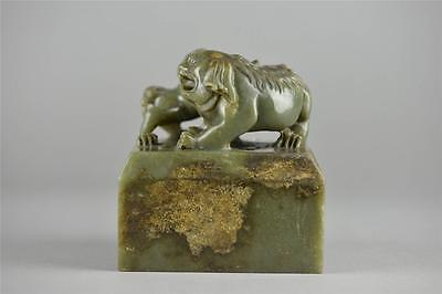 Chinese Carved Spinach Green Jade Lion Seal