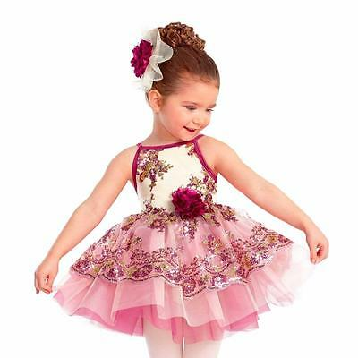 Dance Costume Medium Child Pink Ivory Sequin Tutu Ballet Competition Pageant