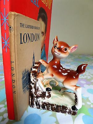 1x Vintage Kitsch 50s 60s Ceramic Deer Bambi Retro Bookend