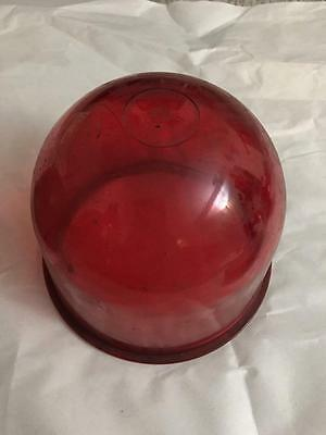 Vintage Red Glass Beacon Emergency Light Dome Cover
