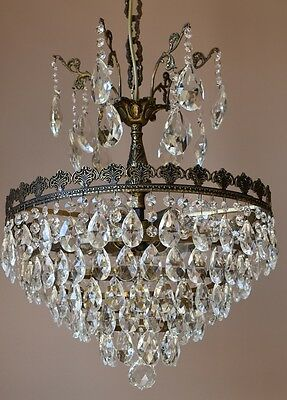 Oriental VINTAGE LAMP 1940's ANTIQUE FRENCH CRYSTAL PENDANT CHANDELIER LIGHTING