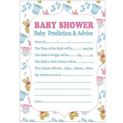 10x A5 Baby Shower Prediction Advice Game Card Sheet Keepsakes For Boys & Girls