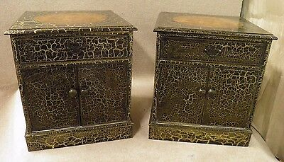Pair Vintage Bur Wood and Decorative Painted Bedside or End Cabinets