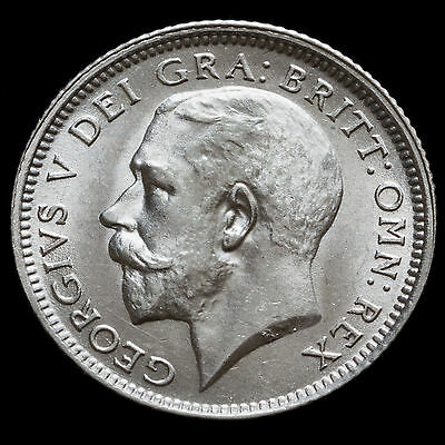 1926 George V Silver Sixpence, Second Coinage, Scarce, UNC #2