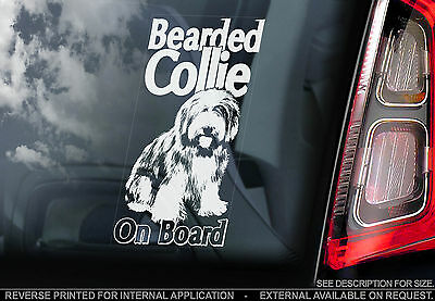 Bearded Collie - Car Window Sticker -Highland Mountain Dog on Board Sign - TYP1