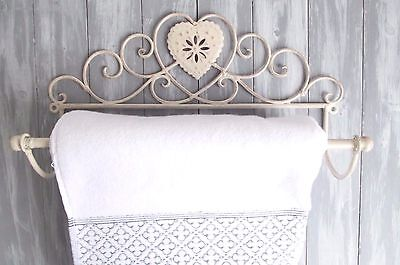 NEW! Chic Shabby Cream Distressed Heart Towel Rail Holder Antique French Vintage