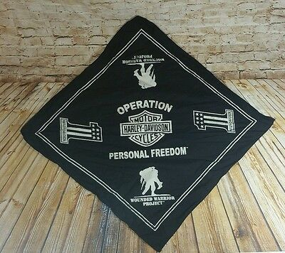 Licensed Harley Davidson Operation Wounded Warrior Blk/Wht Bandana Handkerchief