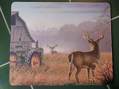 John Deere Barn Whitetail Deer  Country Anti slip COMPUTER MOUSE PAD 9 X 7inch