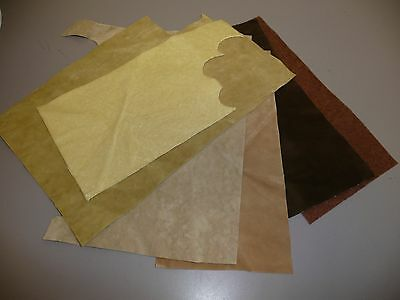 6 Pieces of Brown & Gold Velveteen Upholstery Material for Teddy Bear Making