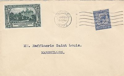 GB KGV 1927 Hyde Park Hotel cover to France.