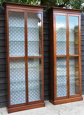 Matched Pair of Victorian Mahogany Tall Shop Display Cabinets/ Bookcases