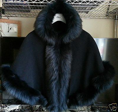 Navy Kids Girls Fluffy Faux Fur Hooded Winter Cape Coat Poncho Size L 8-10 Yrs