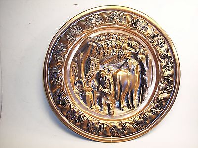 "2 Vintage CopperCraft Guild 12.5"" Decorative Wall Plates Cottage Scenes"