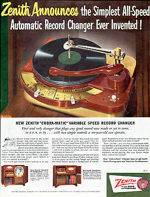 1950 Zenith Phonograph Ad --Cobra-Matic Variable Speed Record Changer --t811