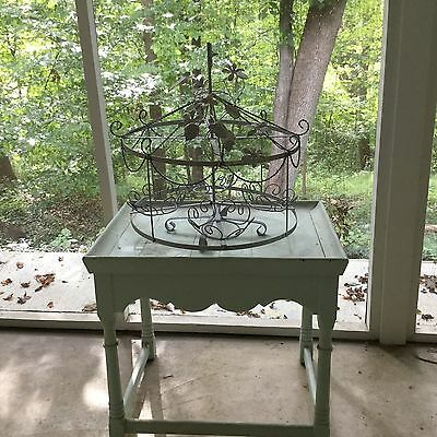 Vtg Wrought Iron Hand Painted Chippy Rustic Shabby Merry Go Round Plant Stand