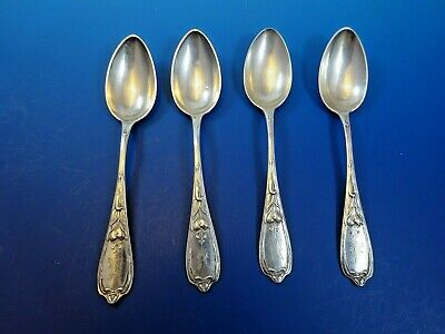 Sterling Silver Set of 4 Russian .84 Teaspoons with Fancy Monogram (2956)