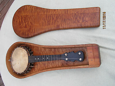 """20"""" Vintage Banjo Uke-Ukelele A.F. Tallman with Old Unique Wooden Case-As is"""