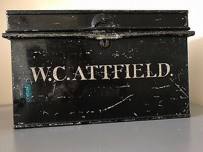 Vintage Metal Deed Box With Name Safe Storage Trunk  Antique