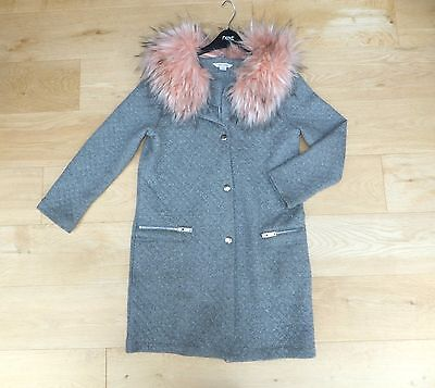 RIVER ISLAND ** GIRLS trendy GREY FAUX FUR COAT / JACKET AGE 11 YEARS (146 CM'S)