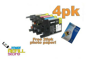 4 Pack LC75 Ink Cartridges Set with Photo Paper For Brother MFC-J625DW J825 J835