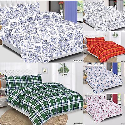 100% Cotton Quilt Duvet Cover Set, Bedding Set With Pillow Cases & Fitted Sheet