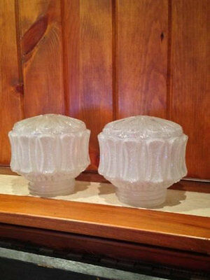 Pair Of Matching Frosted Glass Light Globes/Shades
