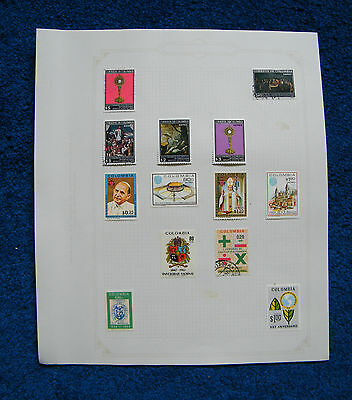 Ten Old Album Pages with Colombia Stamps [E].