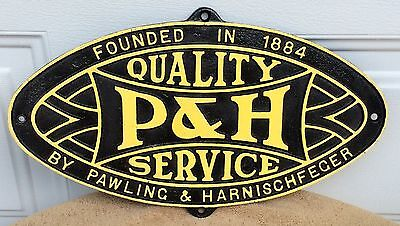 Vintage Pawling & Harnischfeger P & H Cast Iron Crane Service Sign Advertising