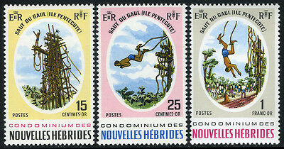 New Hebrides, French 154-156, MNH. Land Diver at Pentecost Island, 1969