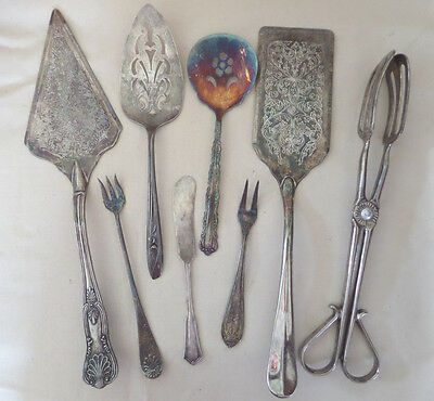 Silverplate Serving Pieces Mixed Lot of 8 Rogers, Oneida, and Unmarked pieces
