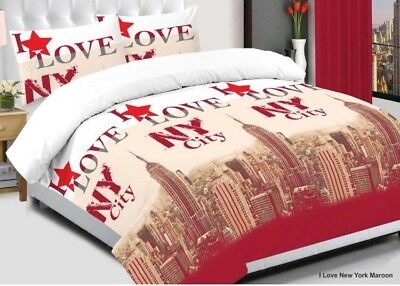 Red Star Cotton Quilt Duvet Cover Set, Bedding Set+Pillow Cases & Fitted Sheet