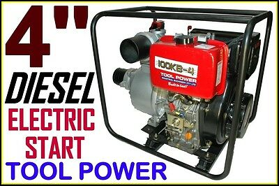 Water Pump TOOL POWER 4'' Diesel electric start = WITHOUT 12v Battery