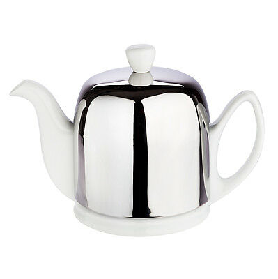 NEW Guy Degrenne Salam 4 Cup White Teapot with Steel Cover