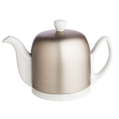 NEW Guy Degrenne Salam 4 Cup White Teapot with Zinc Cover